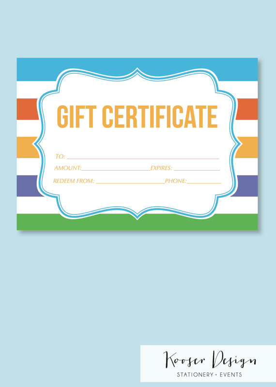 Skin Care Gift Certificate Printable By Kooserdesign On Etsy
