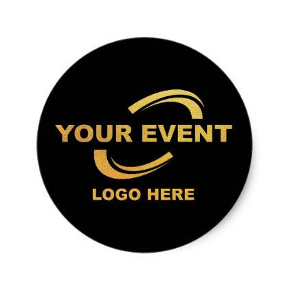 Your event logo stickers round black party gifts