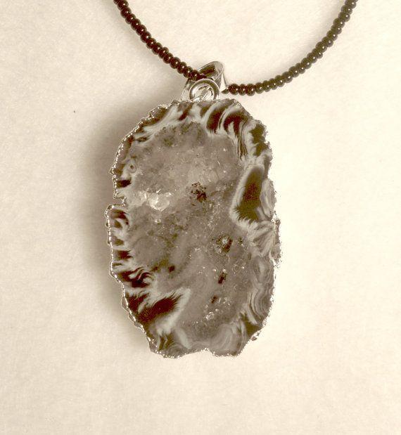Druzy Quartz pendant necklace by WendysRockGarden on Etsy, $38.00