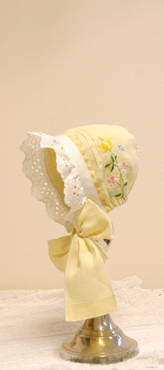 Yellow Embroidered Baby bonnet -- Easter bonnet. vintage bonnet. Newborn  photo prop. antique bonnet. baby girl shower gift. cotton baby hat 633dde392ee
