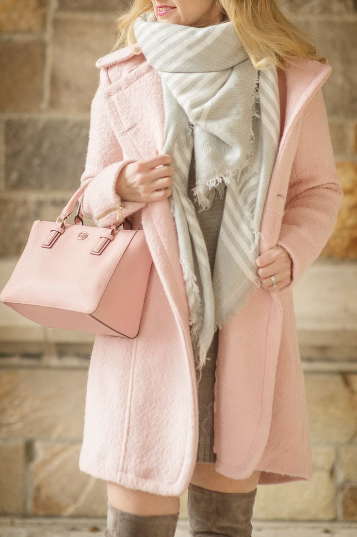 Petite Style Blog | Women's Guess Double Breasted Boucle Cutaway Coat | Ilymix Blanket Scarf | Click to Read More...