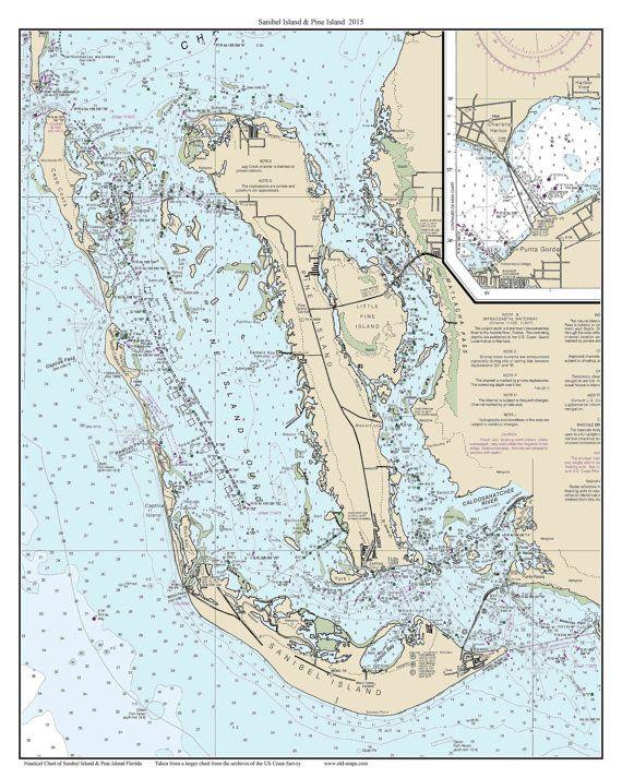 Map Of Sanibel Island Florida.Sanibel Island Pine Island 2015 Nautical Map Florida Custom