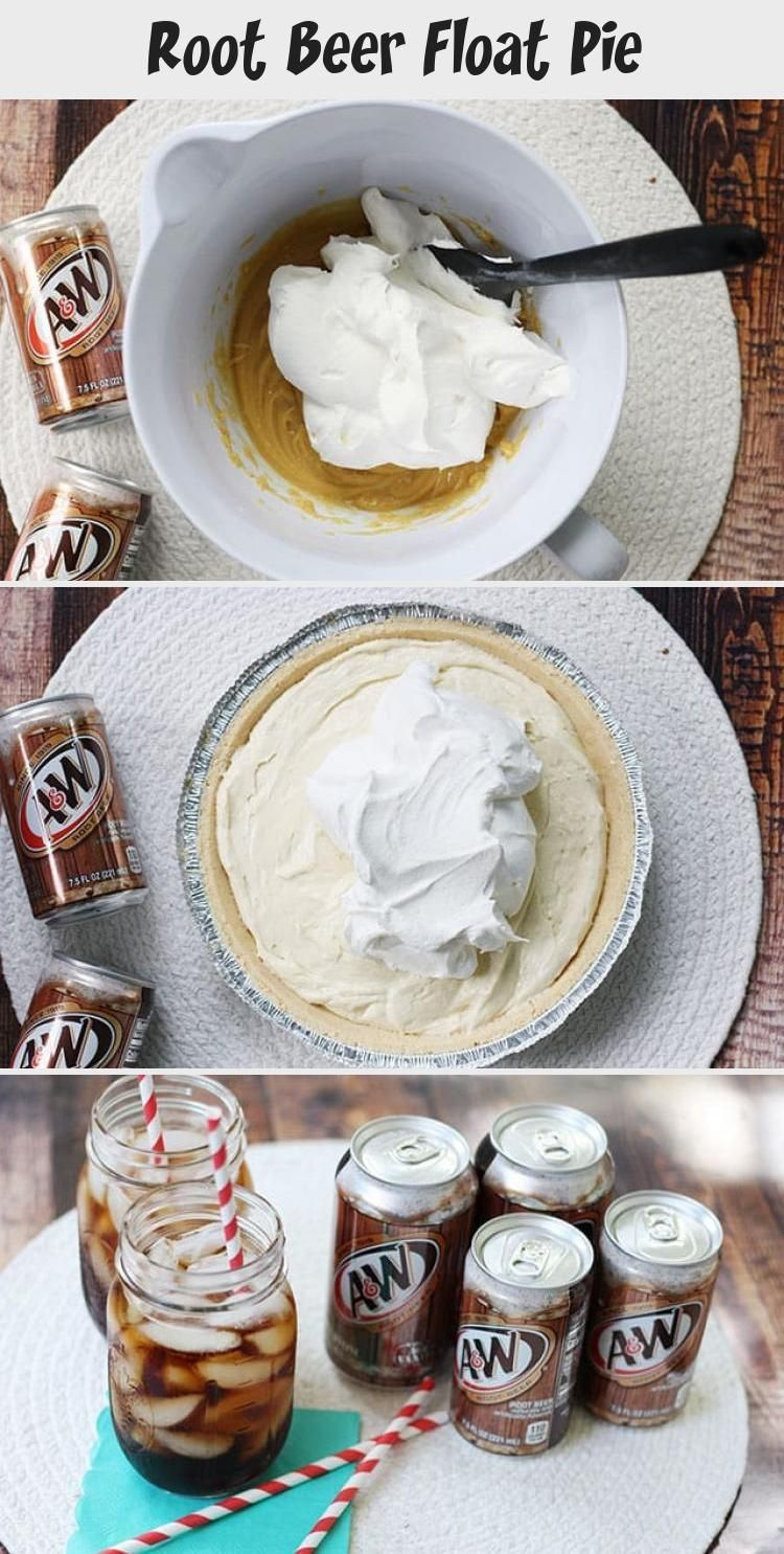 Root Beer Float Pie #rootbeerfloat This Root Beer Float Pie recipe is the perfect no-bake dessert for a family night! Shortbread crust with vanilla pudding, A&W® Root Beer, whipped cream, and cherries! #rootbeer #pie #nobake #dessert #recipe #DessertRecipesNutella #DessertRecipesPudding #DessertRecipesCinnamon #VeganDessertRecipes #FunDessertRecipes #rootbeerfloat