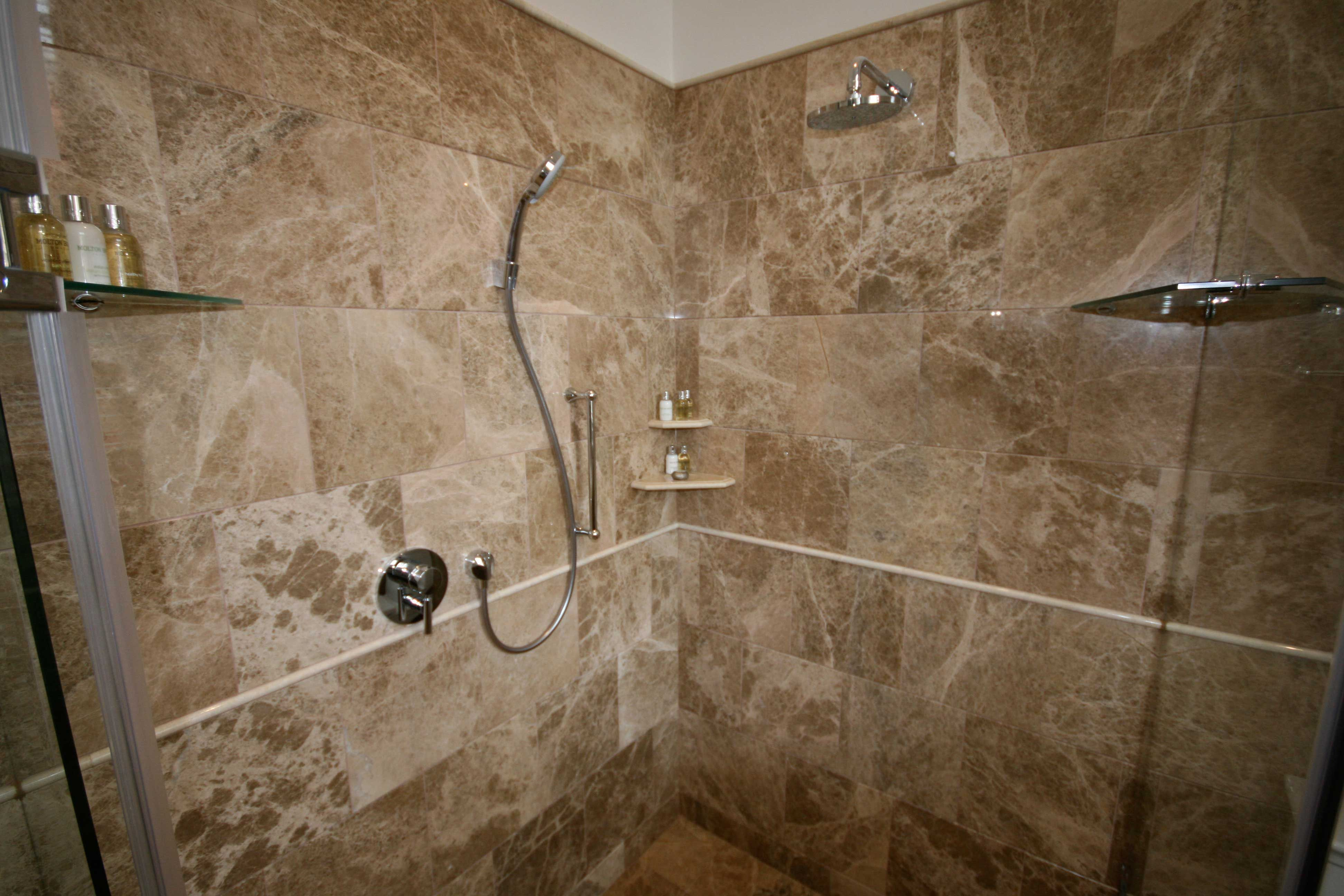 Brown Tile Inspiration For An Elegant Bathroom Remodel Small Bathroom Bathroom Classy Brown Marble Tile Shower Ideas And Bathroom Interior Free Standing Chrome