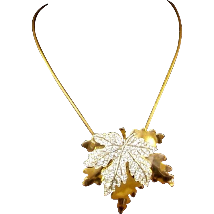 gold yellow maple leaf pendant solid necklace heart