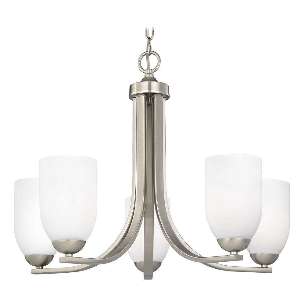 Satin Nickel Chandelier With White Dome Glass Shades And Five Lights At Destination Lighting In 2021 Chrome Chandeliers Replacement Glass Shades Glass Shades