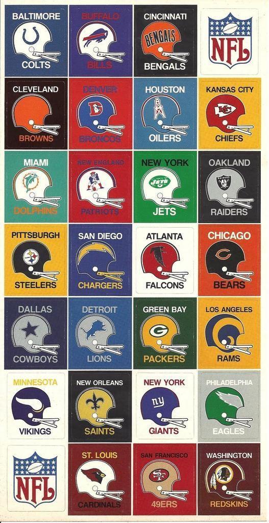 NFL football helmets from the 70's. NFL Football