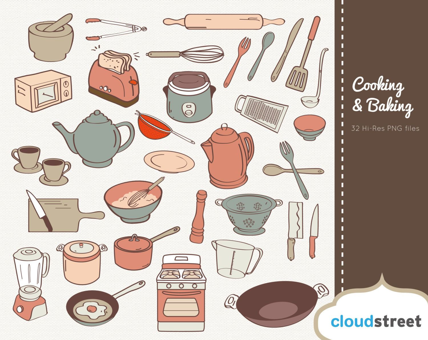 Cooking and Baking Clipart for personal and commercial use ( kitchen ...