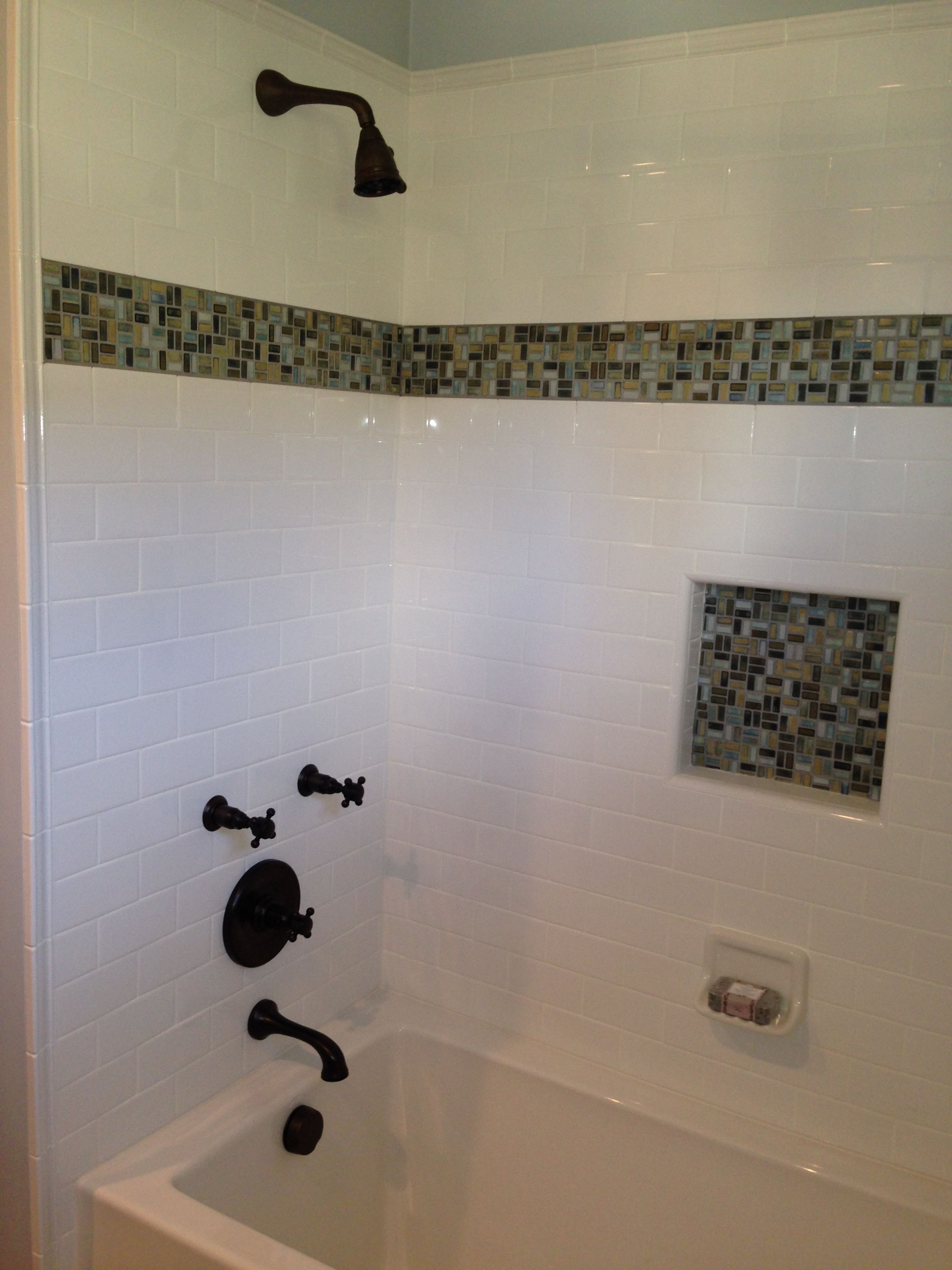 Remodeled Tub And Shower Combo Complete With Beautiful Jeweled Tiles