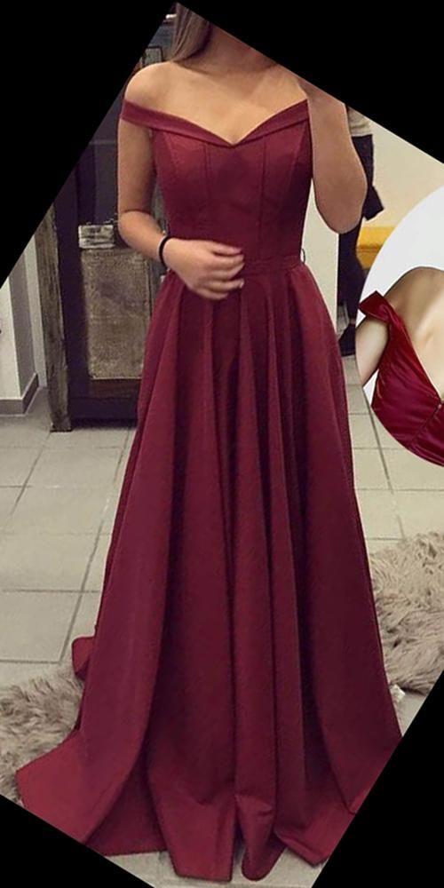Simple Off Shoulder Long Prom Dress Fahion Long Satin School Dance Dresses Custom Made Burgundy Long Evening Gowns SPD247 #schooldancedresses