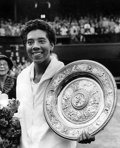 This Day In Tennis History: July 21, 1957 - Althea Gibson became the first black woman to win a major U.S. tennis title when she won the Women's National clay-court singles competition.   keepinitrealsports.tumblr.com  pinterest.com/mysterkeepinit  keepinitrealsports.wordpress.com  facebook.com/pages/KeepinitRealSports/250933458354216  Mobile- m.keepinitrealsports.com