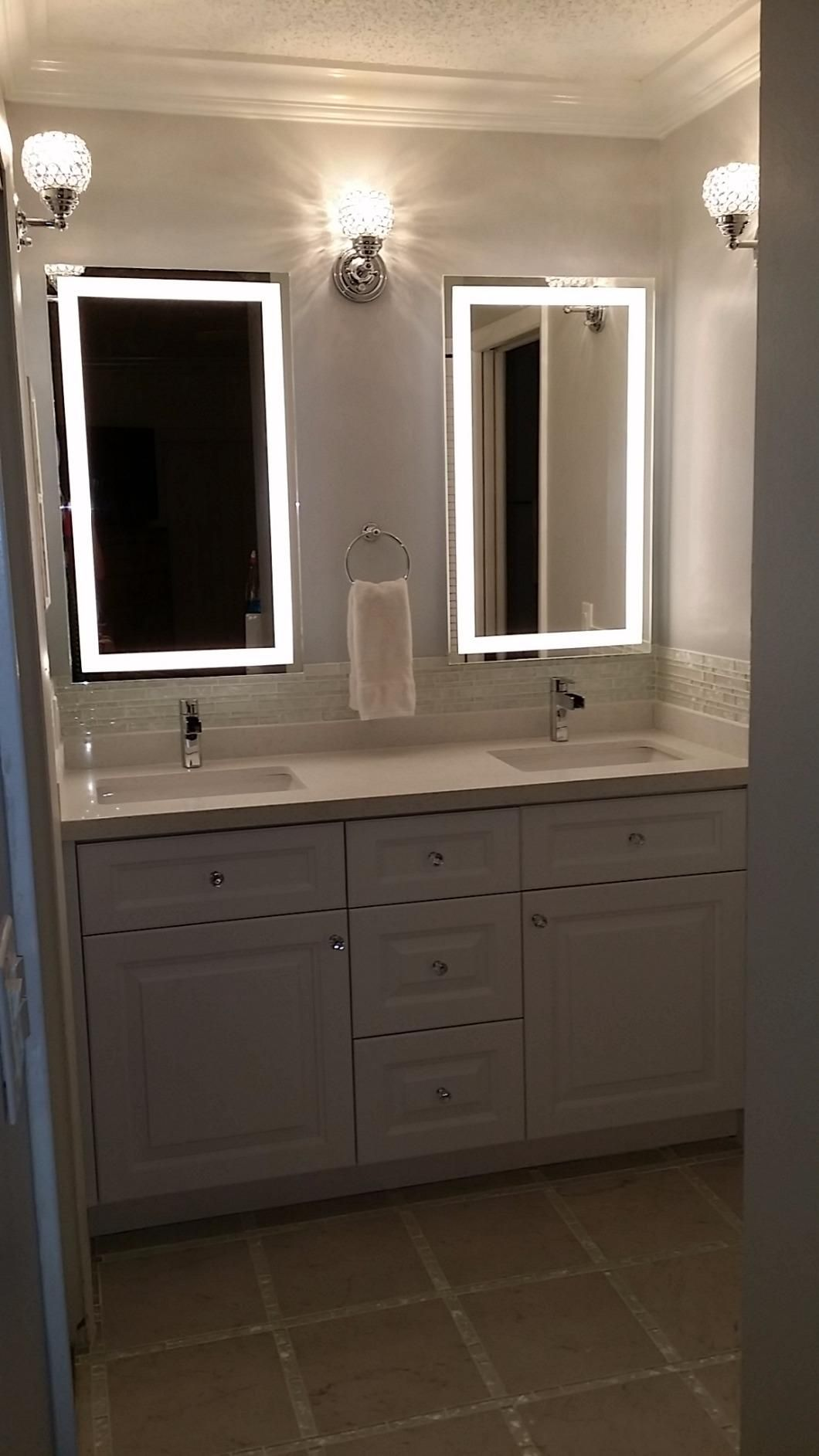 "Bathroom Mirrors Amazon round led lighted wall mount vanity bathroom mirror ""sol"" with"