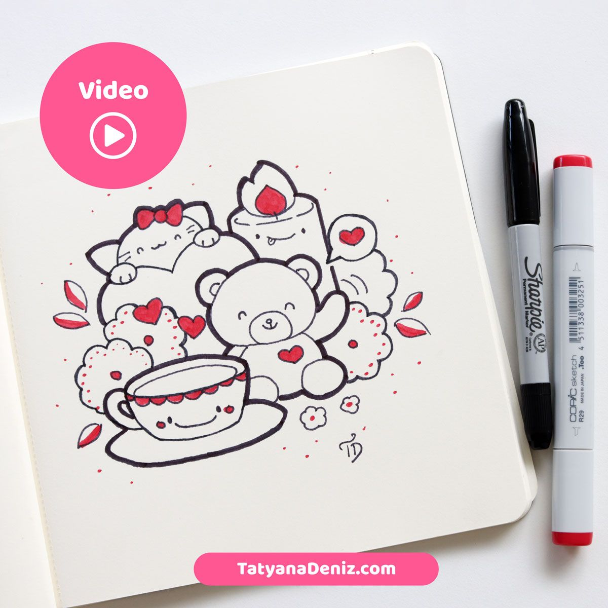 Watch my my complete drawing process as I draw this kawaii doodle for Valentine's Day step-by-step. This video is mesmerizing to watch... lots of fun! Plus, pick up a few drawing tips and tricks for YOUR drawings. Kawaii art and video by Tatyana Deniz - TatyanaDeniz.com #kawaiiart #kawaiidoodle #kawaiidrawing #tatyanadeniz #howtodraw #speedart #video via @tatyanadeniz