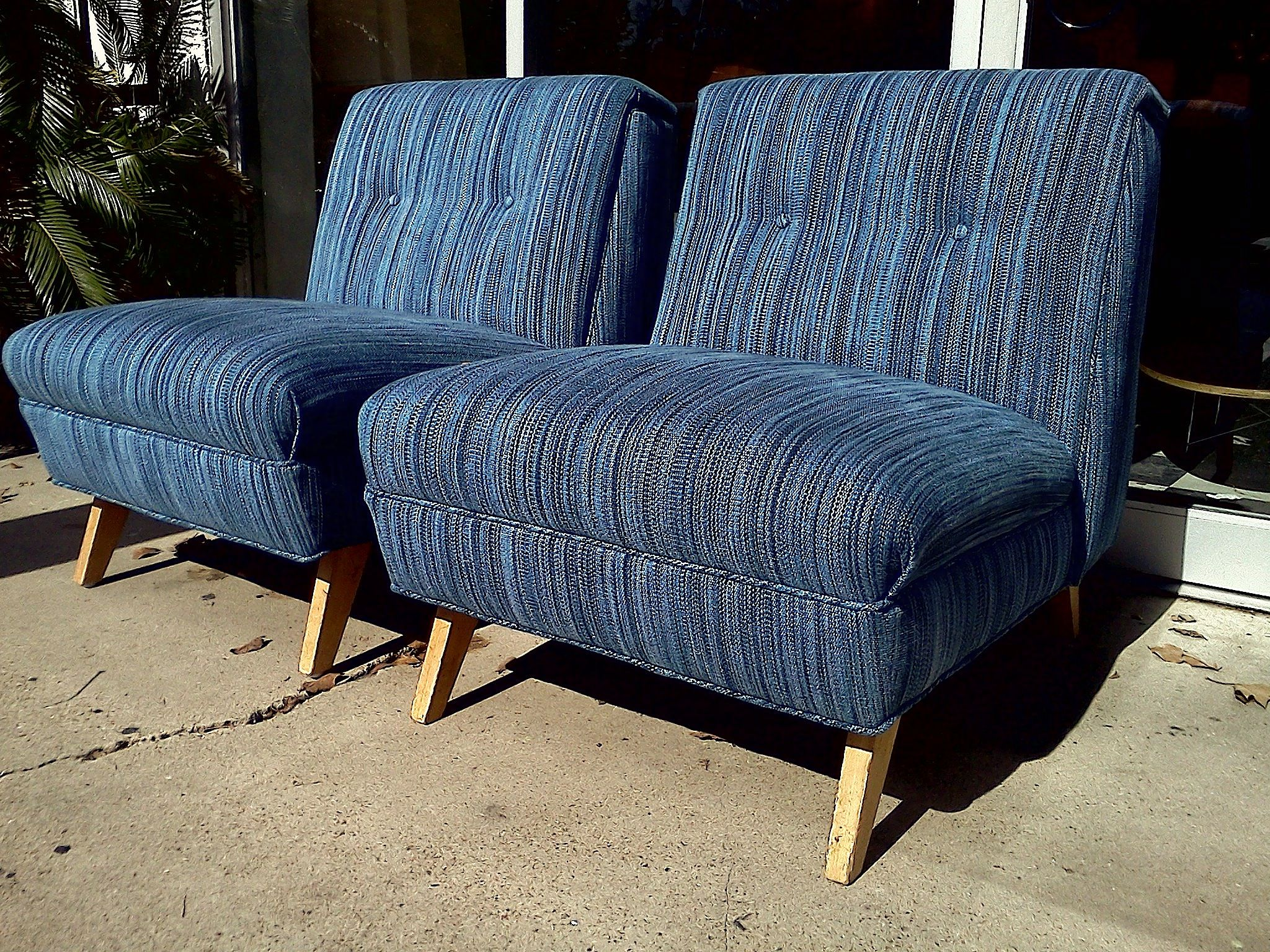 Good Mid Centry Armchair | Blue Mid Century Modern Slipper Chairs