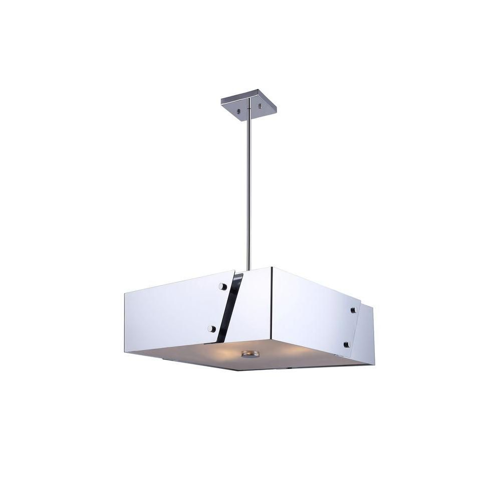 Eglo Vitoria 3-Light Chrome Linear Chandelier | Glass diffuser and ...