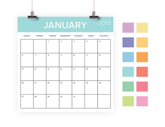 Square 2019 Calendar Template INSTANT DOWNLOAD Color Coded