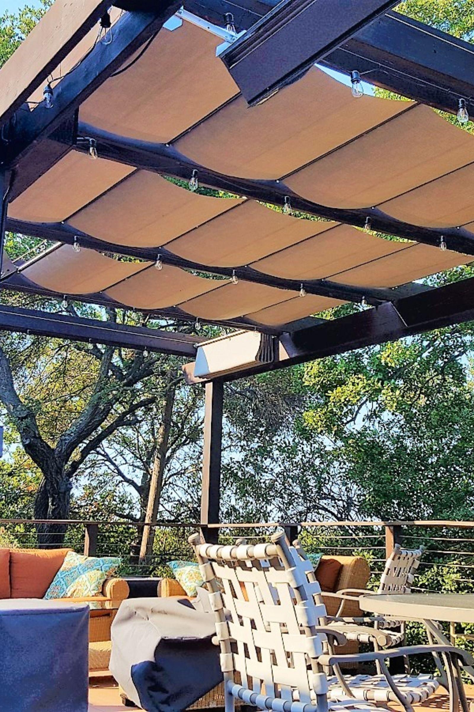Backyard Pergola With New Tan Color Retractable Awnings Pergola Pergola Shade Cover Pergola Shade