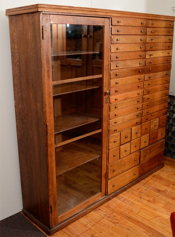 Vintage Elaborate Apothecary Cabinet with 44 Drawers | From a unique collection of antique and modern apothecary cabinets at http://www.1stdibs.com/furniture/storage-case-pieces/apothecary-cabinets/