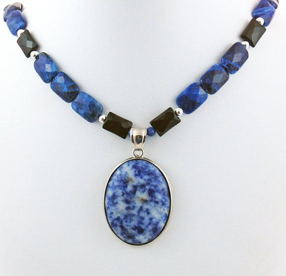 Sodalite and Sterling Silver Pendant with Sodalite and Onyx Necklace, Stone Necklace, Oval Pendant Necklace