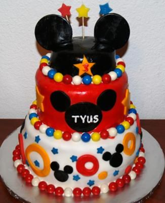 Coolest Mickey Mouse 3 Tier Cake Mickey mouse Third birthday and