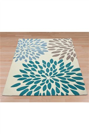 Teal Bloom Print Eyelet Curtains From