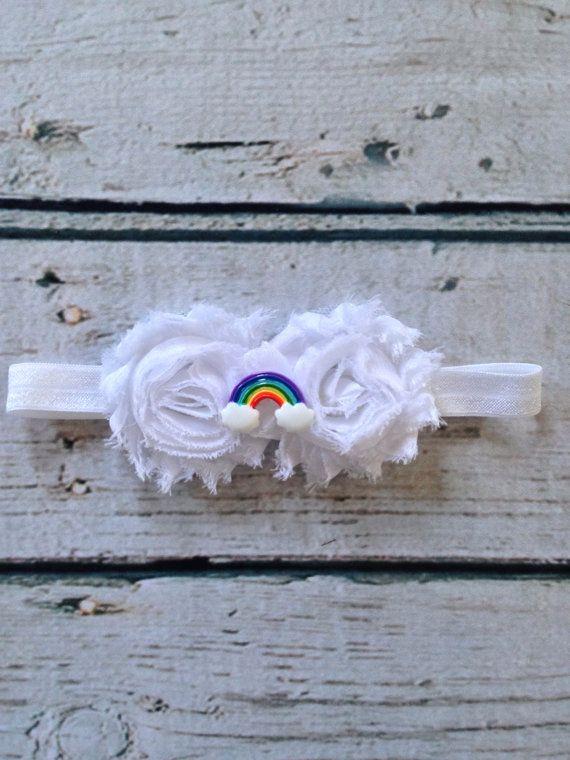 Baby Rainbow Headband.  Newborn Rainbow by BeantownBabyCrafts