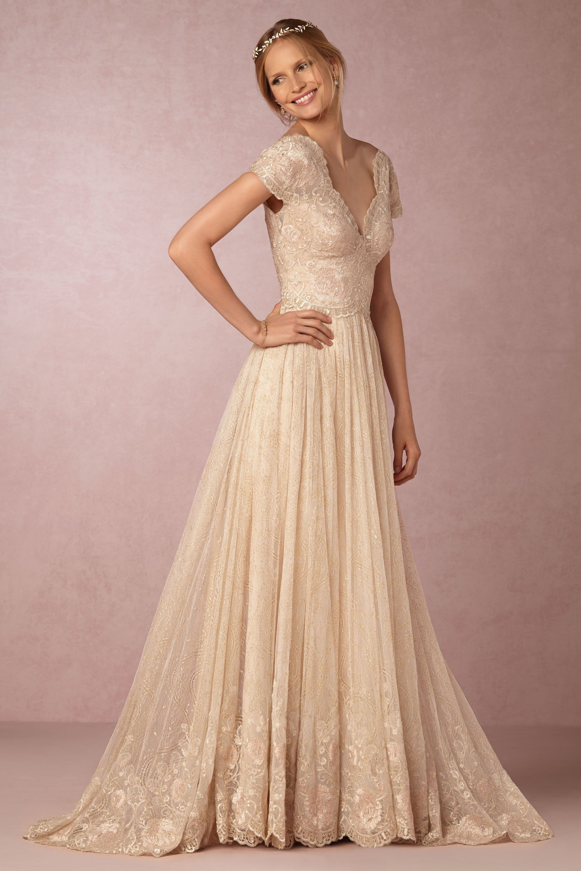 Short champagne wedding dresses  Kensington Gown from BHLDN Great gown for the season BHLDNwishes