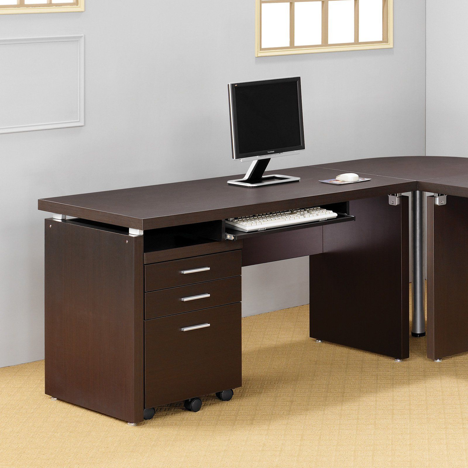 Coaster Skylar Computer Desk With Optional Extension And File