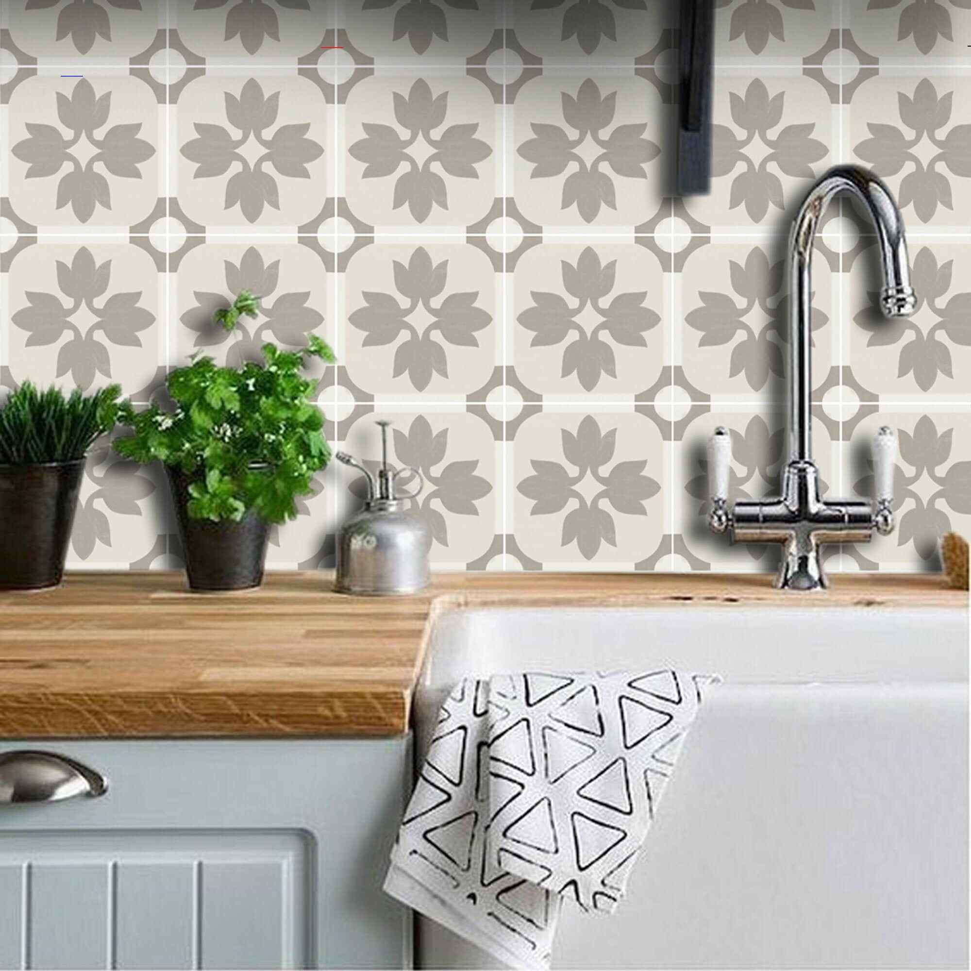 Kitchen And Bathroom Splashback Removable Vinyl Wallpaper Margot Taupe Peel Stick Bathroomsplashback Cement Tile Vinyl Wallpaper Fliesen Aufkleber