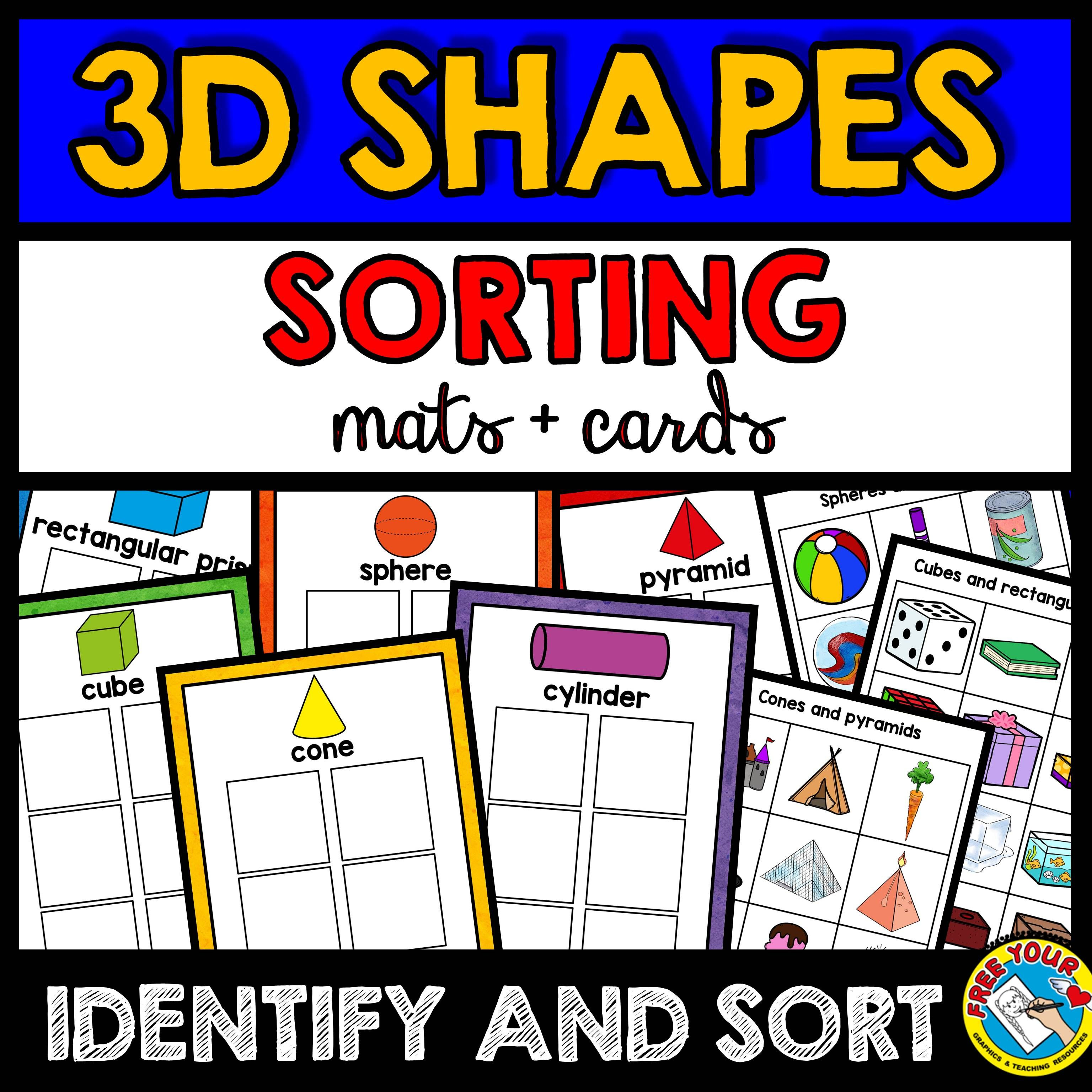 Real Life 3d Shapes Sorting Activity Mats And Cards