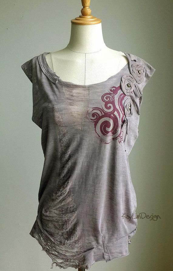 Reconstructed tank, loose fit tshirt, up-cycled t shirt, shredded tunic KT557