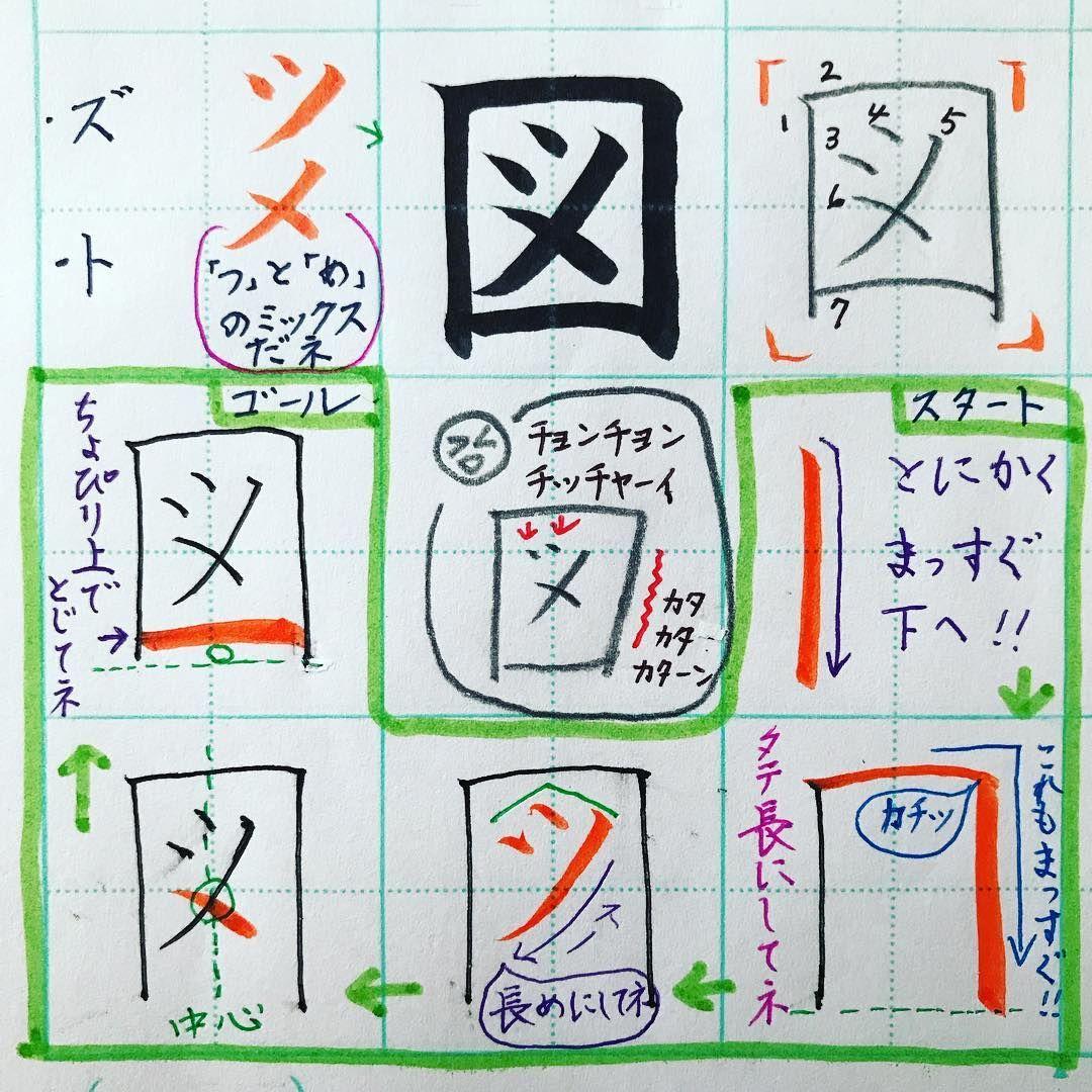 小2で習う漢字 図 囗くにがまえ 今度はまっすぐタテ長の箱にしてね 中はカタカナの ツ と メ の 合体だね 日本列島を襲う21号台風にお気を付けください 文字の書き方は多様にあるね 参考までに ᵔᴥᵔ 手書き 漢字 楷書体