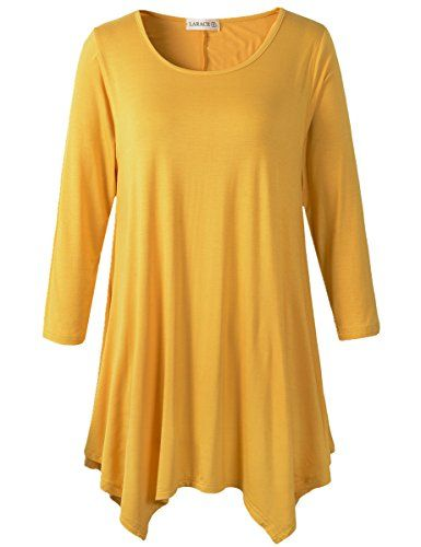 a59ca5ac11e Lanmo Women Plus Size 3 4 Sleeve Tunic Tops Loose Basic Shirt (1X ...