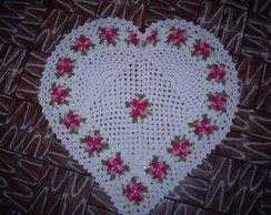 Tapete de crochê de coração