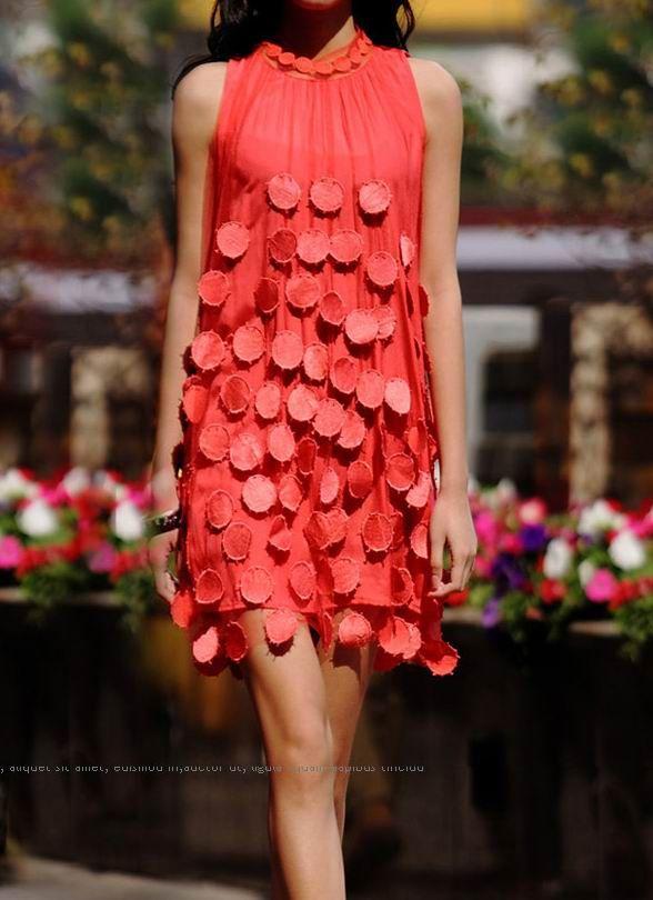 Dot Lace Dress Sleeveless Red Above Knee Dress
