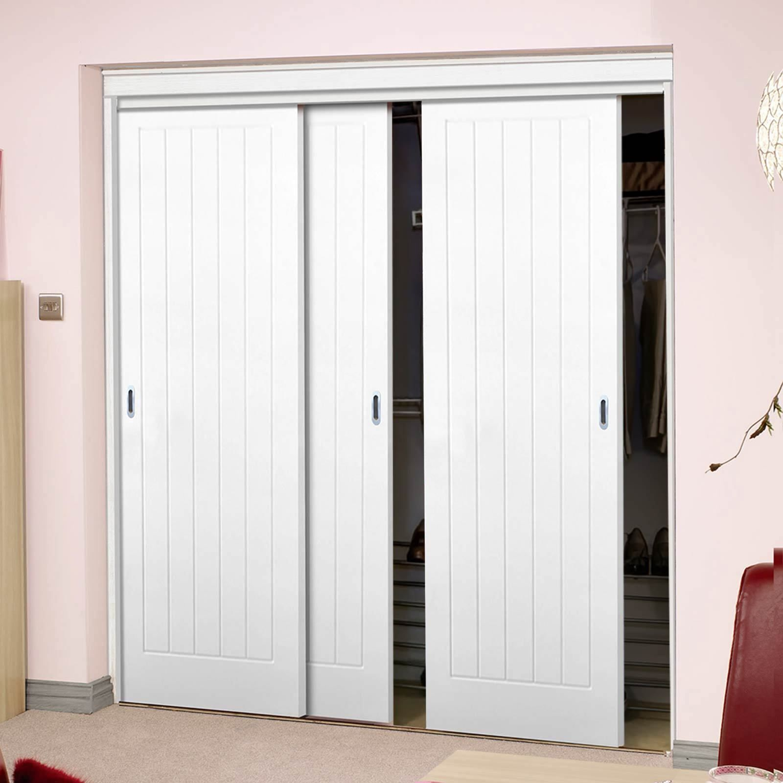 Three Sliding Wardrobe Doors Frame Kit Textured Vertical 5 Panel Wardrobedoors Whitedoors Sliding Wardrobe Doors Wardrobe Doors Sliding Wardrobe