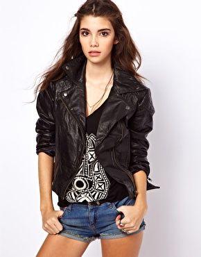 Black leather biker jacket asos