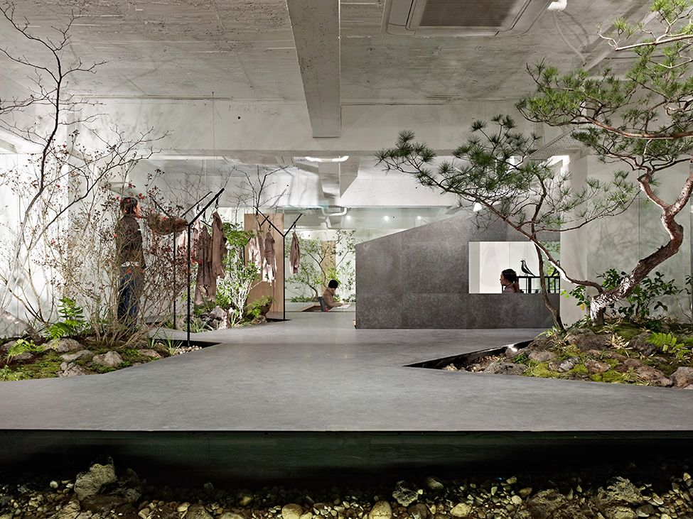 interior garden. Freshness Love for Nature  Open Space Showroom Integrates an Interior Garden