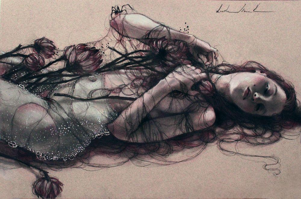"""The Black Silk Enchanter""  Kristin Baugh Shiraef  drawing"