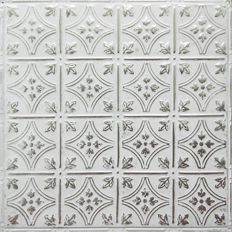 American tin ceilings pattern 3 in silver washed white with its floral coins and arching - Silver tin backsplash tiles ...