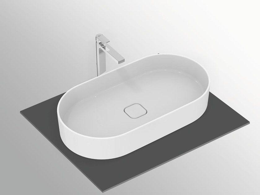Lavabo Da Appoggio Ovale In Ceramica Strada Ii T2980 By Ideal