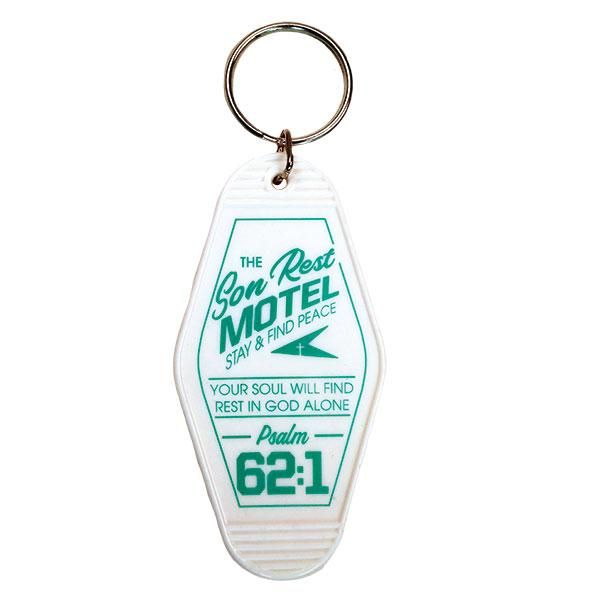 """Son Rest Motel Retro Motel Keychain Seek peace and find true rest with this charming """"Son Rest"""" Retro Motel Keychain in White. This brand new design is inspired by vintage motel keychains from the 1950s and '60s, and will add a fun touch of kitsch to your keychain, backpack, or purse while sharing a powerful message of faith. Eternal salvation through Jesus Christ means the difference between a life of stress and strain, and a life filled with the peace of God's amazing grace. Give every worry t"""