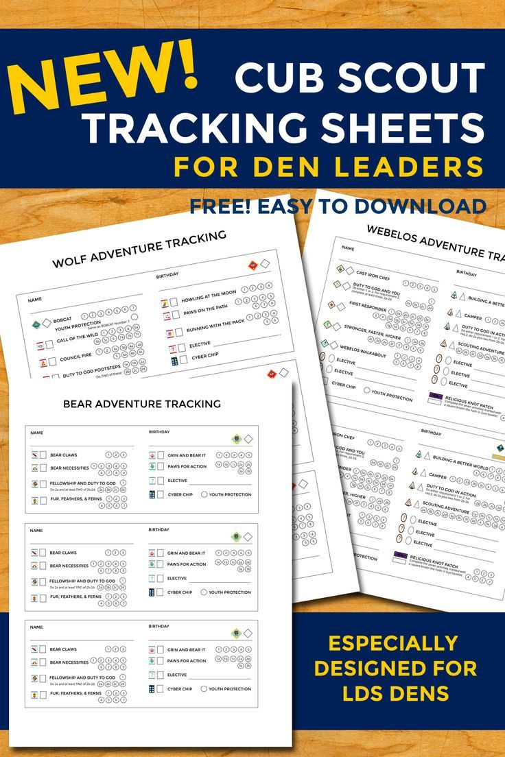 Workbooks eagle scout workbook download : New Cub Scout Tracking Sheets especially for LDS dens | Boy Scouts ...