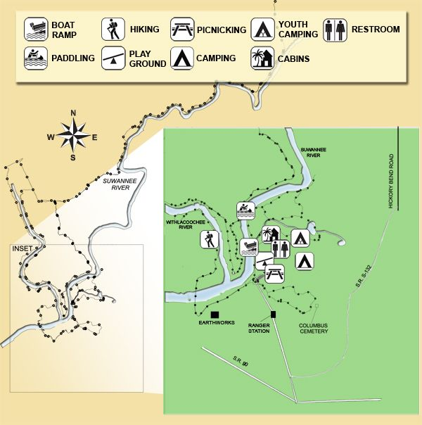 Map Of Suwannee River State Park Florida Land Of Sunshine And