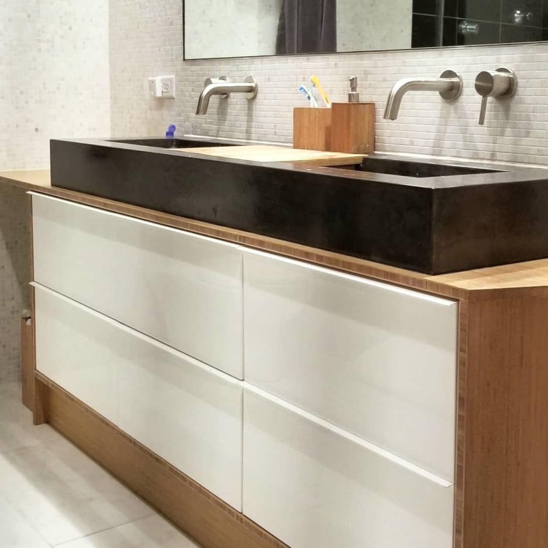 Tbt To This Diy Ikea Hack Vanity W Concrete Sink Swipe For Full Build Process I Wrapped The Ikea Godmorgon Cabinet Ikea Hack Vanity Concrete Sink Ikea