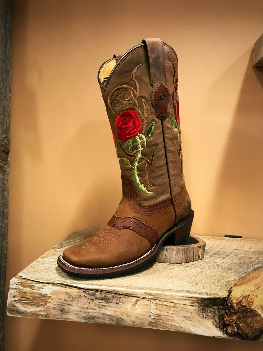 defa79df387 Tombstone- Women's Arena Queen Red Rose Square Toe Boots in 2019 ...