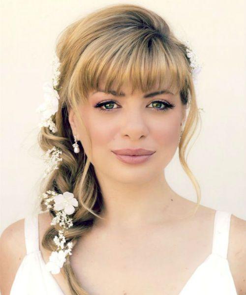 Sizzling Full Fringe Pretty Long Braided Hairstyles for Women | Medium hair styles, Wedding ...