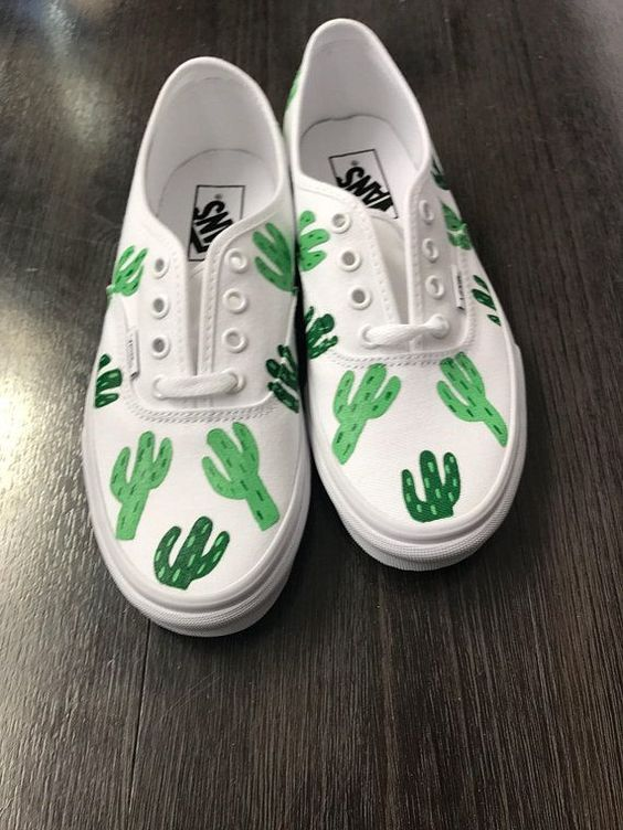 Cactus Women's Hand Painted Vans is part of Custom vans shoes - authenticbleachedapricottruewhitemore If you see a color that you prefer other than what is listed, let me know!  Thank you for stopping by! Ideas are always welcome