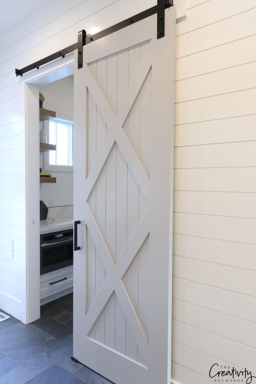 Sliding barn door to modern farmhouse pantry beautiful home