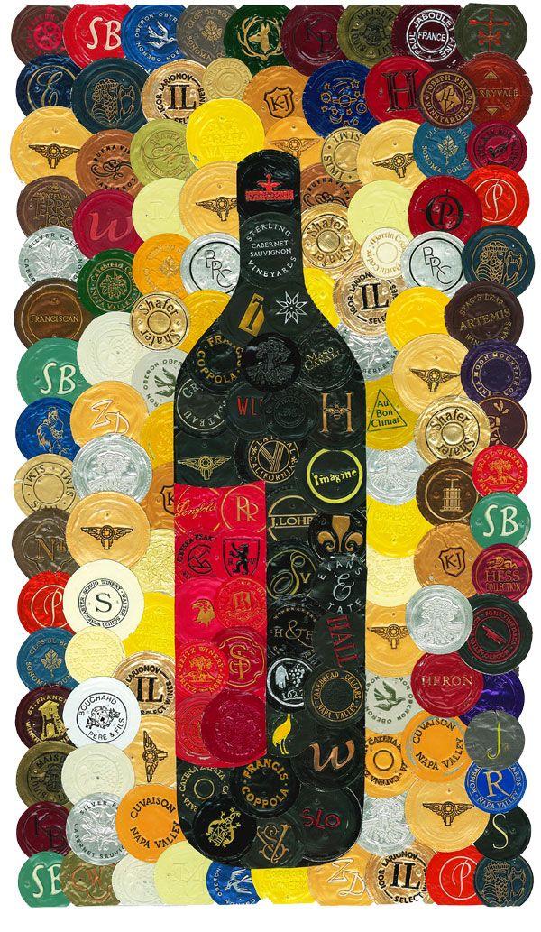 Black Wine Bottle - 14in x 16.5in - mosaic wine art by Jason Szakal - Art You Need